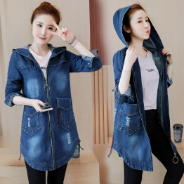 882 hooded large size women's denim jacket