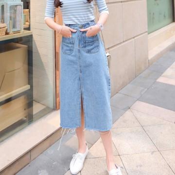 Korea high waist cowboy half skirt female 2017 spring long bag pack skirt large size Slim tide # 9001