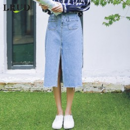 1818 high waist pocket denim half skirt