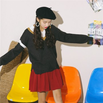 6053 # model real shot autumn and winter new V-neck sweater