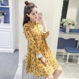 7153 Korean women loose pleated chiffon long sleeves dress