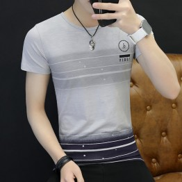 3041 Men 's Korean fashion  short - sleeved stripes t-shirt