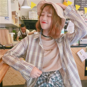 Loose lattice shirt stitching two pieces of long-sleeved shirt 3189 #