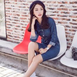 5553 spring single-breasted long-sleeved slim waist denim dress