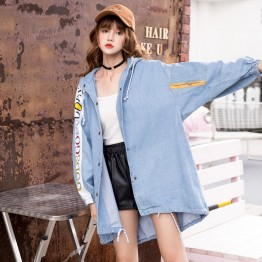 68701 Korean fashion loose long letters printing denim coat