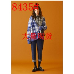 8435 blue and white lattice knitted sweater
