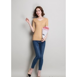 The summer of the new Korean women's sweater Slim thin short section of the semi-sleeved fashion wild t-shirt