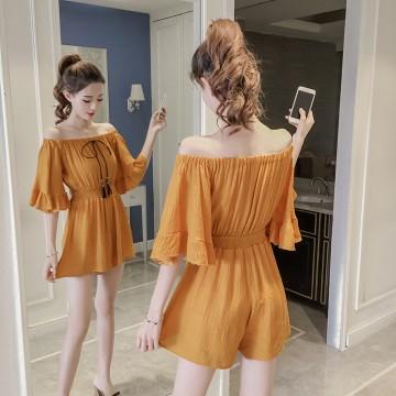 7213 # real shot 2017 Korean summer new cotton and linen word shoulder lotus sleeves dress pants shorts female