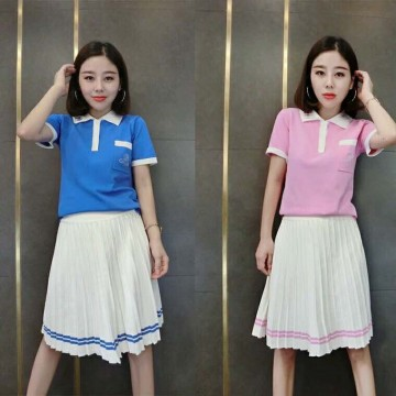 2017 summer new pink loose thin college wind two-piece polo shirt pleated skirt knit suit