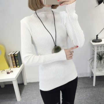 8081 # autumn and winter new Slim was thin high collar collar sweater female Korean long-sleeved wild base sweater