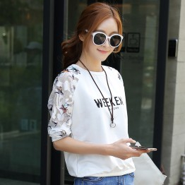 8010 Korean Style Long Sleeve Letter Print Tops