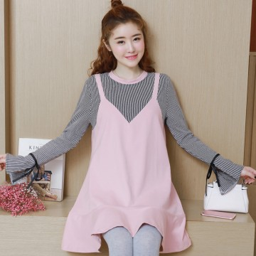 1603 # pregnant women autumn dress Korean cotton stripes stitching long pregnant women tops