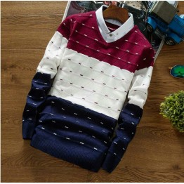 6315 v collar sets of diamond-shaped contract color sweater