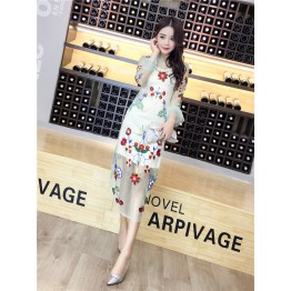 8057 new ladies embroidery grenadine sexy transparent dress