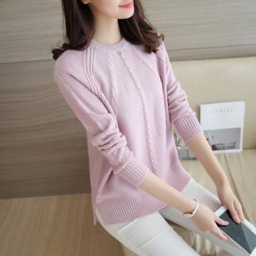 465 # Autumn new round neck loose jacket twist sweater split sweater long sleeves bottoming shirt