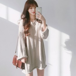 1269 Korea chic V collar long sleeves twist wool dress