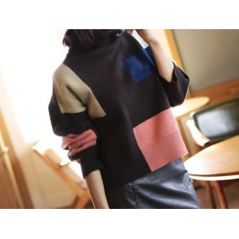 1066 personality high collar rabbit cashmere sweater
