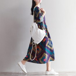 1837 art retro print long sleeves cotton linen loose long dress