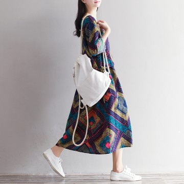 1837 # model real shot 2017 early spring art retro print long sleeves cotton linen loose long dress female