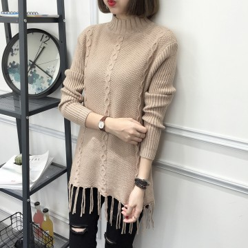 8095 # new loose semi-high collar sweater women autumn and winterlong-sleeved sweater