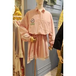 0053 stripes drawstring waist casual shirt dress