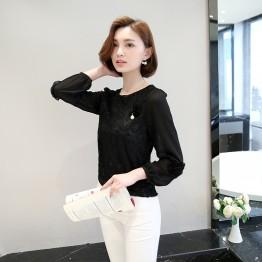 8028 elastic lace chiffon bottoming shirt