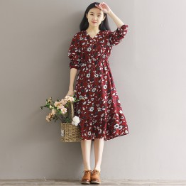 5862 lotus leaf hem chiffon floral dress