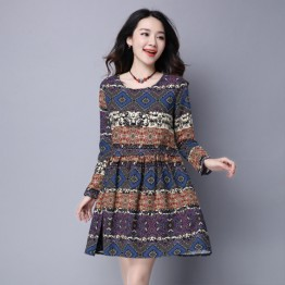 8027 national style cotton and linen large size women's geometric printing dress