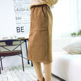 1314 slits high waist woolen pencil skirt