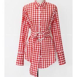 6157 elegant chic design waist plaid shirt