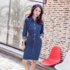 5553 spring single-breasted long-sleeved slim waist denim dress