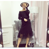 8919 autumn and winter Korean version bead knitting long splicing package hip skirt two sets dress