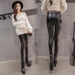 6116 Pearls rivets rhinestone lace splicing leather pants wool lining leggings