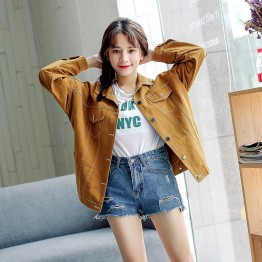 908 autumn lines decoration loose denim jacket