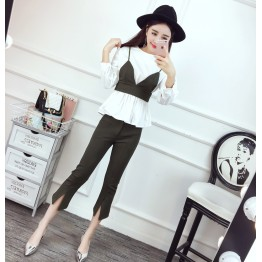 4345 lotus leaf shirt and sling vest and nine pants three pieces