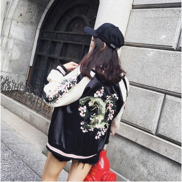 6160 Embroidery Double-sided wear baseball Harajuku long sleeve jacket