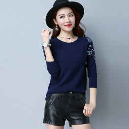1879 autumn new round neck collar embroidery knitting shirt