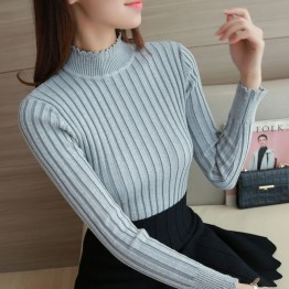 2922 autumn and winter lace semi-high collar vertical stripes elastic sweater
