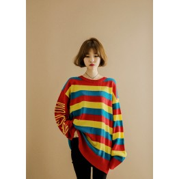 1065 # Rainbow letters print Korean fashion sweater