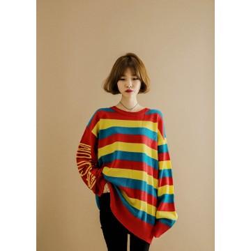 1065 # Rainbow letters print Korean fashion sweater
