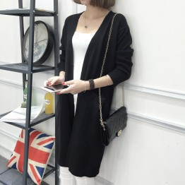 8101 Medium long Korean loose sweater cardigan