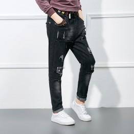 166729 colorful ribbons hole black denim trousers