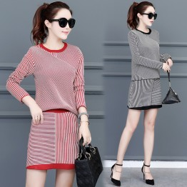 9210 stripes long sleeve sweater with A-line skirt