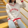 973 Korean fashion preppy style big V collar letter embroidery sweater