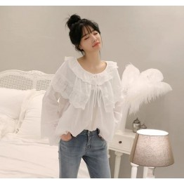 6292 fresh and beautiful lace sweet round neck hollow shirt
