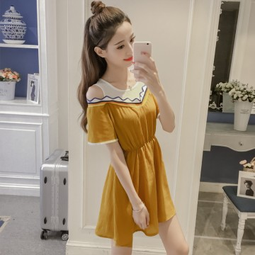 7219 # real shot summer new Korean version of the small fresh color thread stitching short-sleeved dress