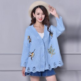 6048 spring and autumn V-neck embroidery loose long-sleeved cardigan sweater