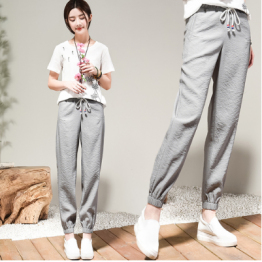 6318 Ice silk cotton and linen tie pants
