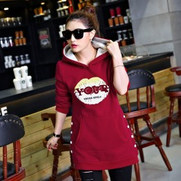 5337 thick woolen hooded warm long sweatshirt