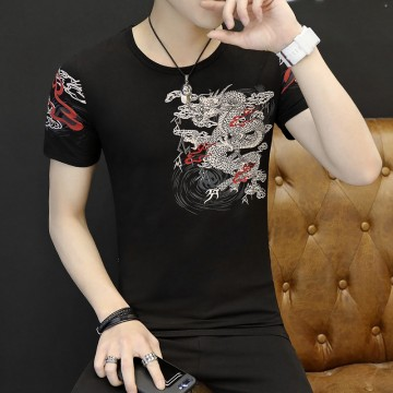 Men's Chinese Fashion Pencil T-Shirt Long Men's Summer Short Sleeve T Blood Korean Half-Sleeve T-Shirt 9120